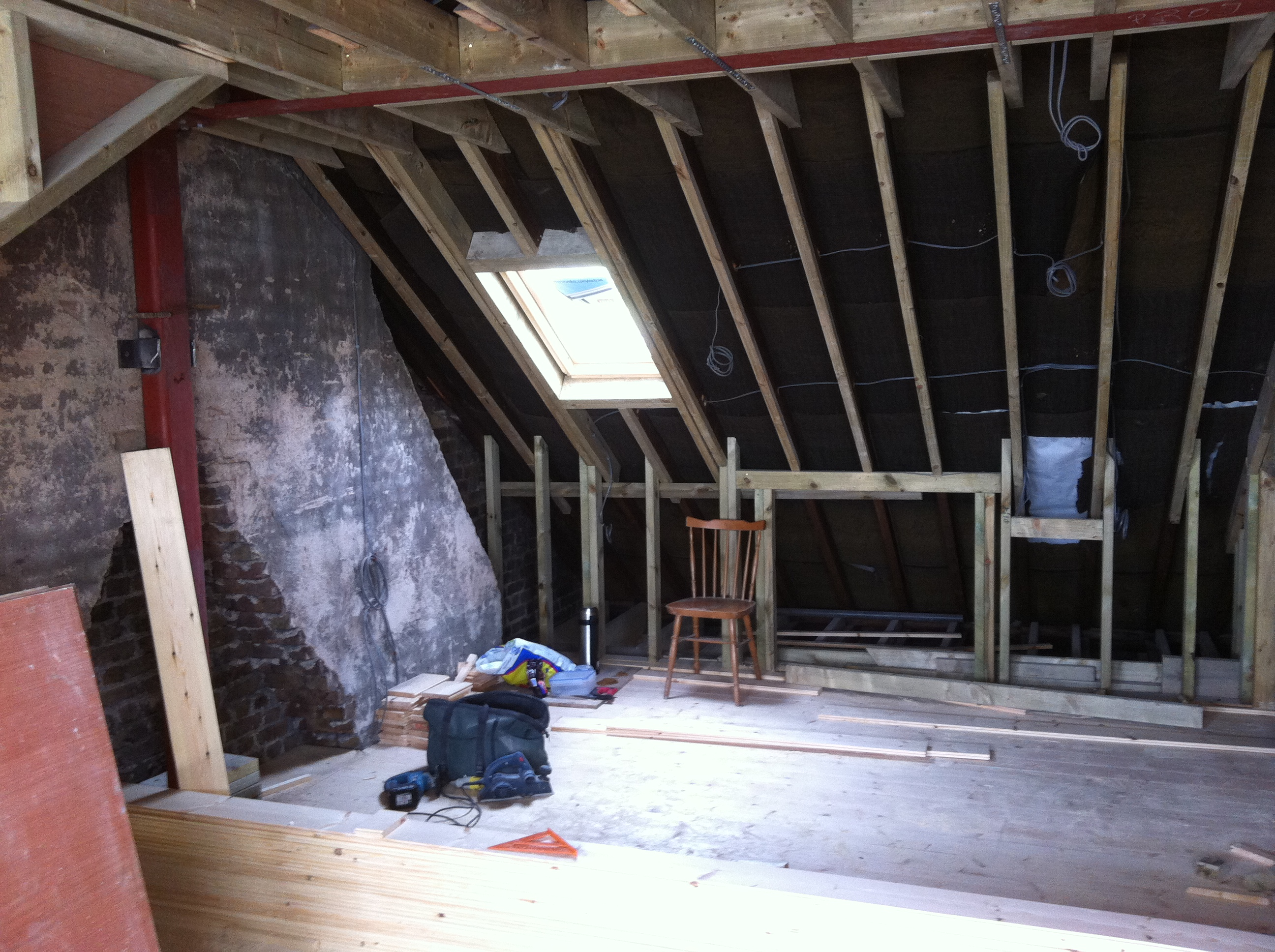 Attic conversion roof structure