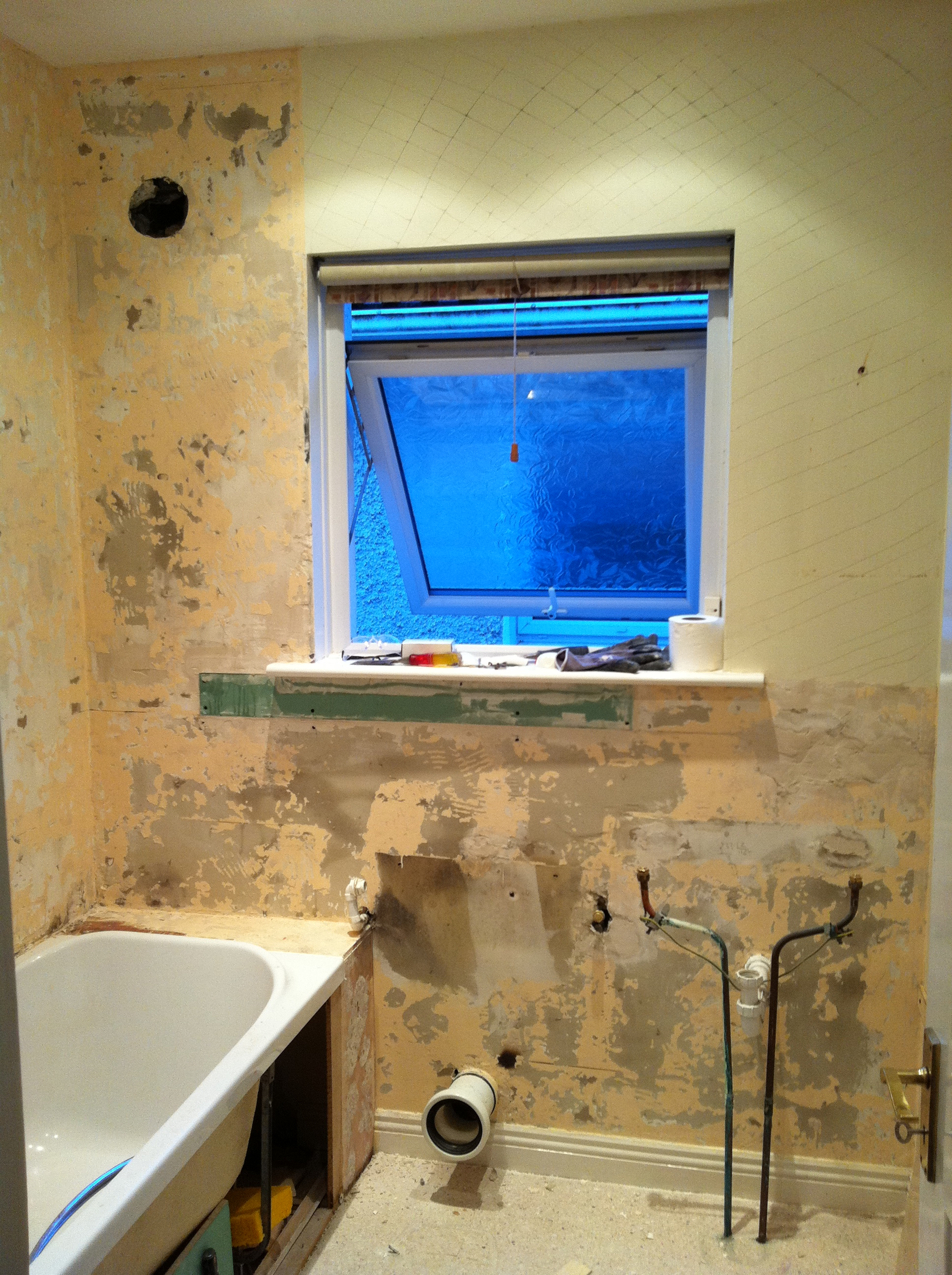 Bathroom before window