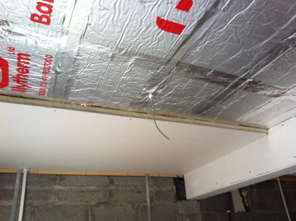 Second story extension work interior roof