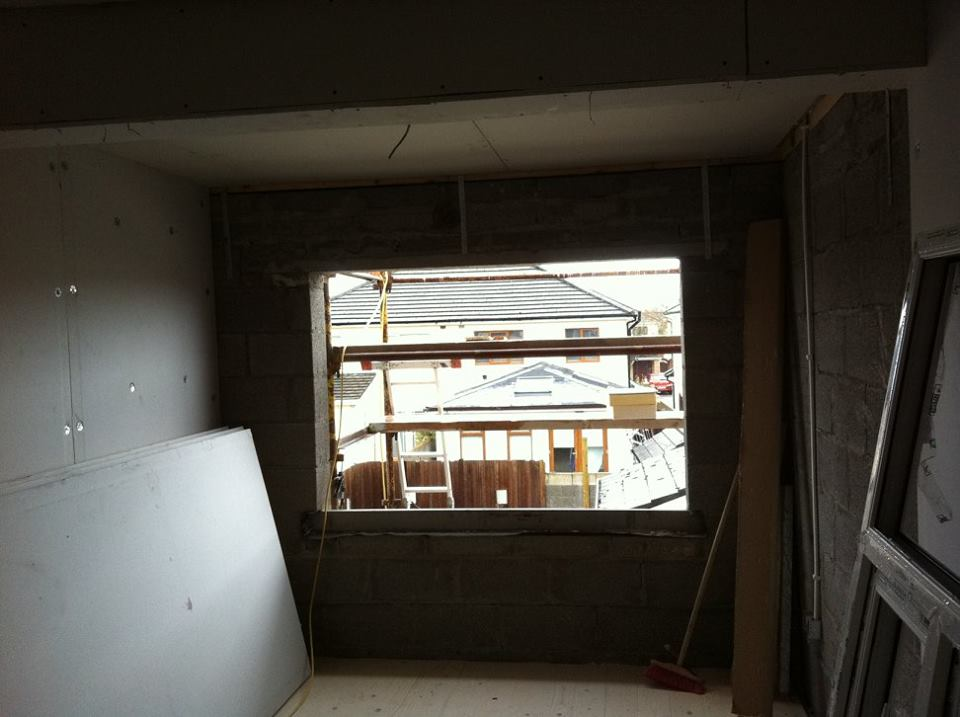 Second story extension work interior window