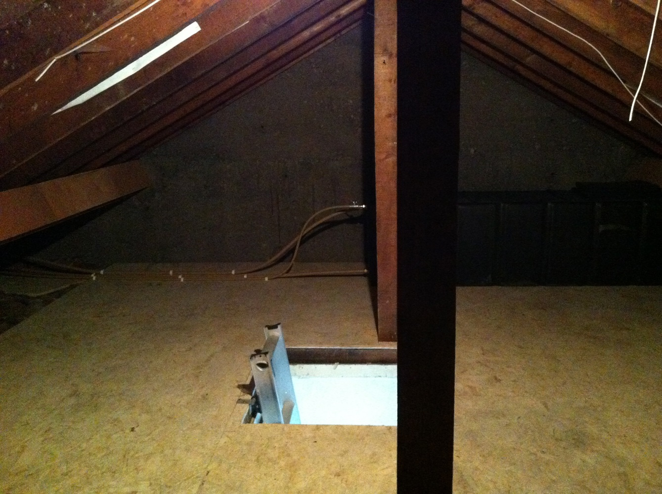 Attic floored for storage